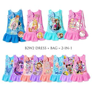 Dress anak jacquard B2W2 2-in-1 set tas