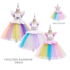 Dress anak unicorn tutu gradasi B2W2 putih
