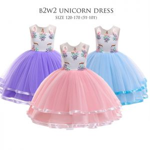 Dress tutu anak unicorn B2W2 aplikasi ungu