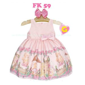 Dress satin anak perempuan print bear pink