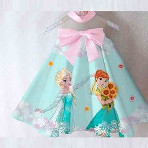 Dress frozen anak satin premium import