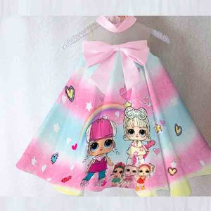 Dress anak LOL Surprise satin premium import gradasi biru