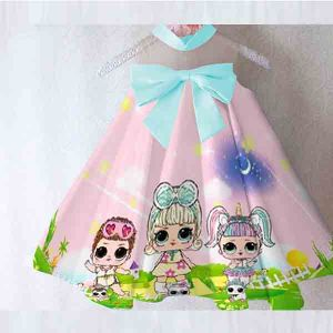 Dress anak LOL Surprise satin premium import pink
