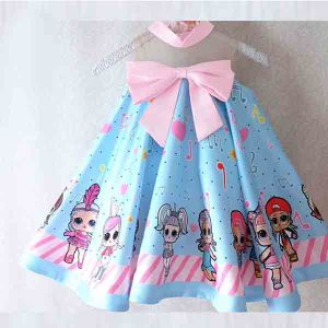 Dress anak LOL Surprise satin premium import biru