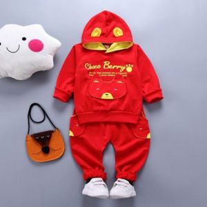 Sweater hoodie merah motif bear set celana