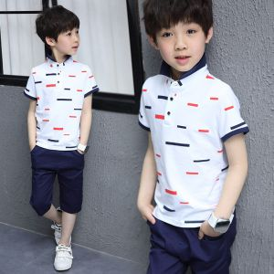 Boy casual buttoned top stripe merah