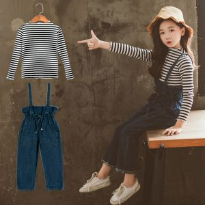 CASUAL SET ANAK PEREMPUAN STRIPE WITH OVERALL