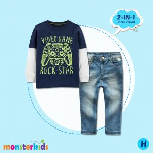 Baju anak laki 2-in-1 print video game set jeans