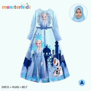 GAMIS 3-IN-1 SET BELT DAN HIJAB FROZEN BIRU