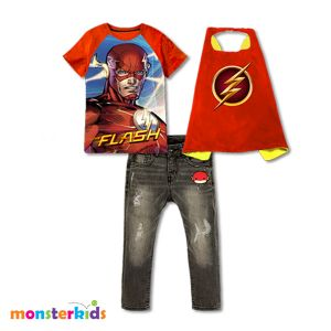 Baju anak superhero 3-in-1 set jeans dan wing