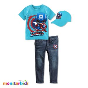 Setelan jeans anak 3-in-1 captain america set topi