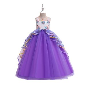 Dress tutu anak unicorn panjang Ungu