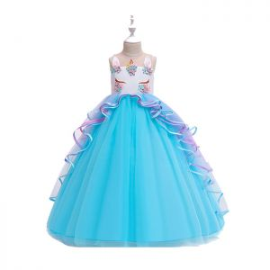 Dress tutu anak unicorn panjang Biru