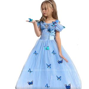 Costume princess dress B2W2 Cinderella butterfly biru