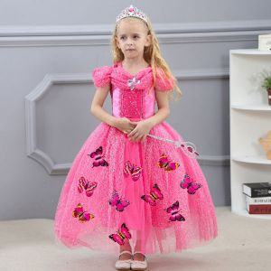 Costume princess dress B2W2 Cinderella butterfly pink