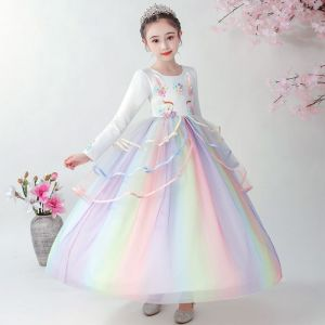 Dress pesta unicorn putih lengan panjang