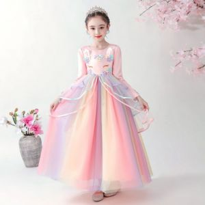 Dress pesta unicorn pink lengan panjang