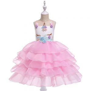 Dress anak unicorn ruffle B2W2 pink