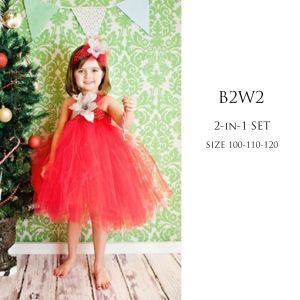 Dress tutu anak merah set headband