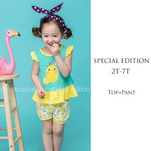 Casual set anak perempuan rufle kuning