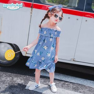 Dress sabrina anak stripe bunga biru set headband
