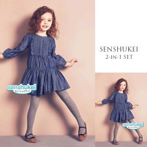 Dress denim anak perempuan Senshukei set legging