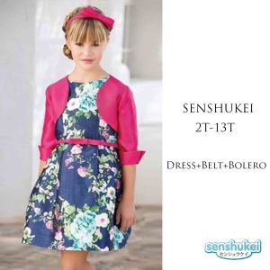 Dress anak perempuan 3-in-1 motif bunga set cardigan dan belt
