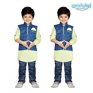 Baju koko anak 3-in-1 Senshukei Hijau set vest Denim