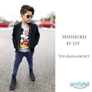 Senshukei 3-in-1 Mickey Top Set hitam Jacket & Jeans