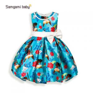 Dress anak moana print satin biru