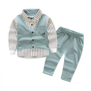 Baby 3-in-1 Formal Boy Top Stripe Vest Green