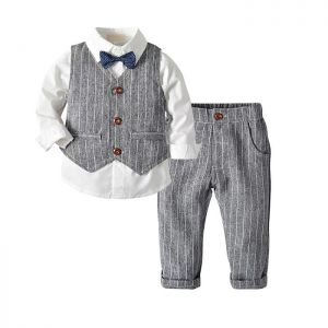 Baby 4-in-1 Formal Boy Top putih Vest abu