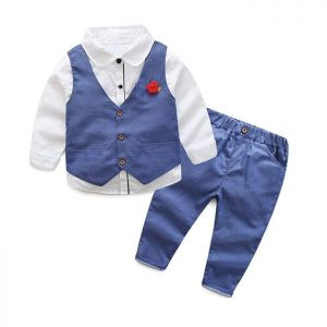Baby 3-in-1 Formal Boy Top putih Vest biru