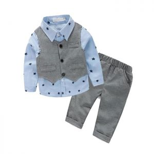 Baby 3-in-1 Formal Boy biru Star Vest abu