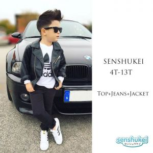 Senshukei 3-in-1 Adidas Top Set hitam Jacket & Jeans