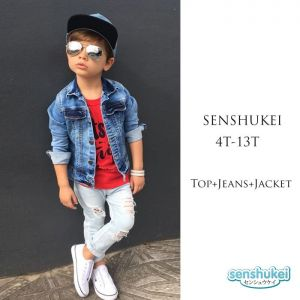 Senshukei 3-in-1 merah Top Set Jeans Jacket