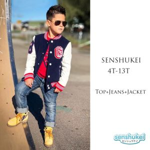 Senshukei 3-in-1 merah Top Set Navy Jacket & Jeans