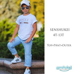 Senshukei 3-in-1 casual boy putih set hat